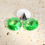 Peridot - 8mm. Round Rivoli Rhinestone Jewels - Lots of 144