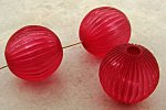 CRANBERRY MATTE 23MM FLUTED ROUND 5MM HOLE BEADS - Lot of 12