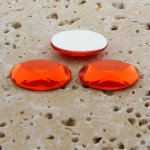 Orange Jewel Faceted - 25x18mm. Oval Cabochons - Lots of 72
