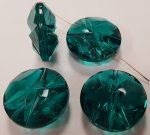 EMERALD 25X12MM FACETED CARVED FLAT ROUND BEADS - Lots of 12