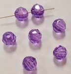 AMETHYST 6mm. BRIGHT FACETED ROUND BEADS - Lots of 24