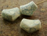 BLUE WATERSPOT 20X14MM ELBOW BEADS - Lot of 12