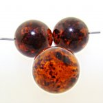 TORTOISE BROWN SPECKLE SHINY 14MM SMOOTH ROUND BEADS - Lot of 12