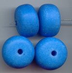 BLUE MATTE WASH 16X24MM DONUT SPACER BEADS - Lot of 12