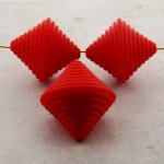 RED MATTE 30X28MM BICONE BEADS - Lot of 12