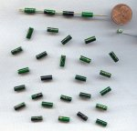 GREEN GOLD DRIZZLE 10x4mm. TUBE BEADS - Lots of 24