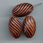 BROWN BLACK SWIRL 30X17MM OVAL BEADS - Lot of 12