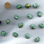 GREEN TURQUOISE MARBLE - 16x14mm. NUGGET BEADS - Lots of 12