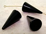 BLACK 30X15X3MM SMOOTH TRIANGLE BEADS - Lot of 12
