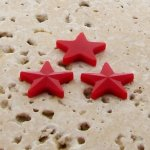 Red Opaque Faceted - 15mm. Star Domed Cabochons - Lots of 144