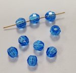 SAPPHIRE 4mm. BRIGHT FACETED ROUND BEADS - Lots of 24