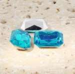 Aqua Jewel - 25x18mm. Octagon Faceted Gem Jewels - Lots of 72