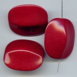 BURGUNDY 35X30MM FLAT ROUNDED EDGE RECTANGLE BEADS - Lot of 12