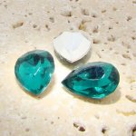 Teal Jewel -25x18mm. Pear Faceted Gem Jewels - Lots of 72