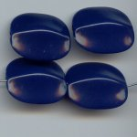 NAVY BLUE 28X24MM FLAT ROUNDED EDGE RECTANGLE BEADS - Lot of 12