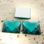 Teal Jewel Faceted - 20mm. Square Domed Cabochons - Lots of 144
