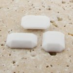 White Opaque Faceted - 18x13mm. Octagon Cabochons - Lots of 144