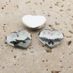 Black Diamond Faceted - 18mm Heart Cabochons - Lots of 144