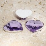 Light Amethyst Faceted - 18mm Heart Cabochons - Lots of 144