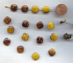 YELLOW BROWN GOLD DRIZZLE 12mm. PUFFED SQUARE BEADS - Lots of 12