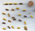 YELLOW BROWN GOLD DRIZZLE 10x4mm. TUBE BEADS - Lots of 24
