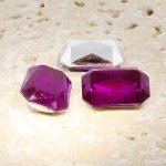 Fuchsia - 14x10mm. Octagon Faceted Gem Jewels - Lots of 144