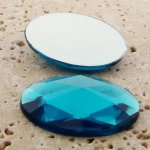 Aqua Jewel Multi Faceted - 40x30mm. Oval Cabochons - Lots of 12