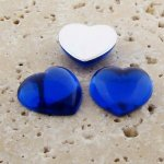 Sapphire Jewel Smooth - 18mm. Heart Cabochons - Lots of 144