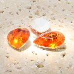 Orange Jewel - 25x18mm. Pear Faceted Gem Jewels - Lots of 72