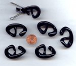 Jet Black - 26mm. Oval Plastic Hooks - Sold in Lots of 12