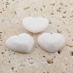White Opaque Faceted - 18mm. Heart Domed Cabochons - Lots of 144