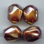 BROWN AB SCARABE' 20X15MM NUGGET BEADS - Lot of 12