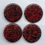 37mm. RED GOLD WATERSPOT ROUND CABOCHONS - Lot of 36