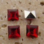 Ruby Jewel - 6x6mm. Square Faceted Gem Jewels - Lots of 144