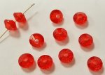RUBY 4x6mm. BRIGHT FACETED BICONE SPACER BEADS - Lots of 24