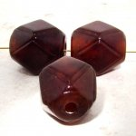 BROWN 26X22MM FACETED BARREL BEADS - Lot of 12