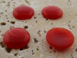 15mm. CINNAMON SHINY MARBLE ROUND CABOCHONS - Lot of 48