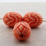 APRICOT WASH 24X18MM OVAL LOVE KNOT BEADS - Lot of 12