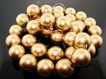 GOLD 22MM ROUND SMOOTH JAPANESE PEARLS - Lot of 31