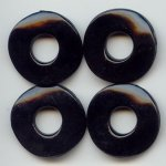 BLACK 2X25MM WAVY DISC BEADS - Lot of 12