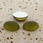 Olivine Matte Frosted - 8x6mm Oval Domed Cabochons - Lots of 144