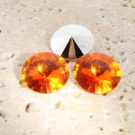 Orange Jewel - 8mm. Round Rivoli Rhinestone Jewels - Lots of 144