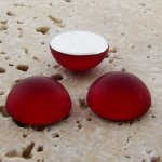 Ruby Matte Frosted - 13mm. Round Domed Cabochons - Lots of 144