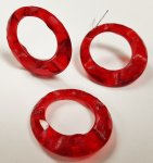 RUBY 30x7mm. GROOVED ETCHED ROUND HOOP PENDANTS - Lots of 12