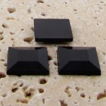 Jet Opaque Faceted - 15mm. Square Domed Cabochons - Lots of 144
