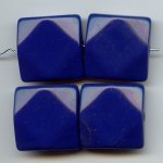 BLUE 26MM SQUARE FACETED BEADS - Lot of 12