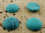 15mm. TURQUOISE MATTE MARBLE ROUND CABOCHONS - Lot of 48