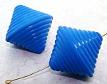 BLUE MATTE 33X33MM GROOVED BICONE BEADS - Lot of 12