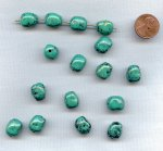 BLUE TURQUOISE JET GOLD SPECKLE 14x12mm. NUGGET BEADS -Lot of 12