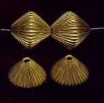 BRASS CORRUGATED 25X25MM BICONE BEADS - Lot of 12